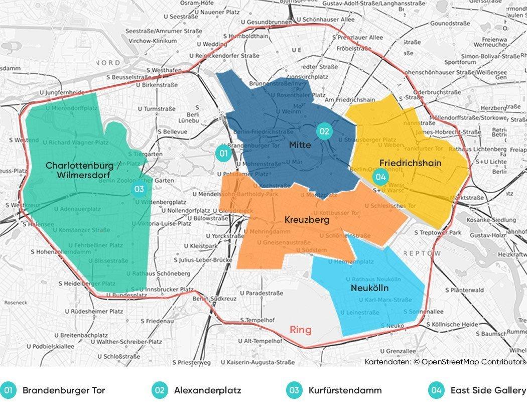 Die besten Stadtteile zum Übernachten in Berlin auf einer Karte