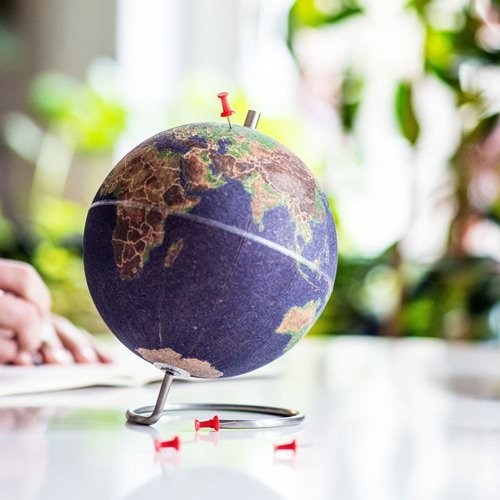 Cork globe for marking travel destinations