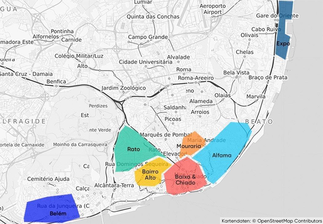 Die einzelnen Stadtteile, die Sehenswürdigkeiten in Lissabon zu bieten haben, auf einer Karte.