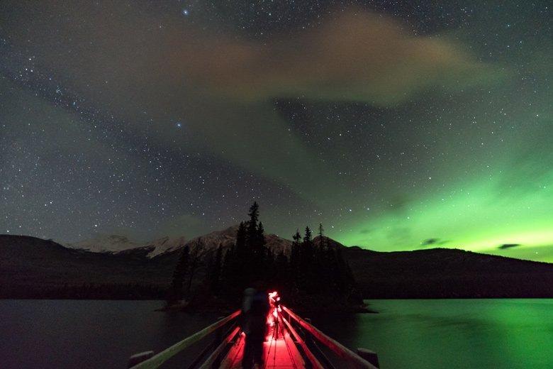 Nachtfotografie mit rotem Stirnlampenlicht