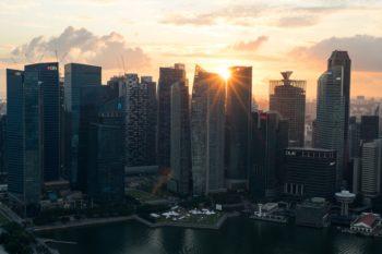 Sonnenuntergang auf dem Marina Bay Sands