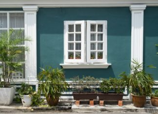 Melaka schöne Hauswand