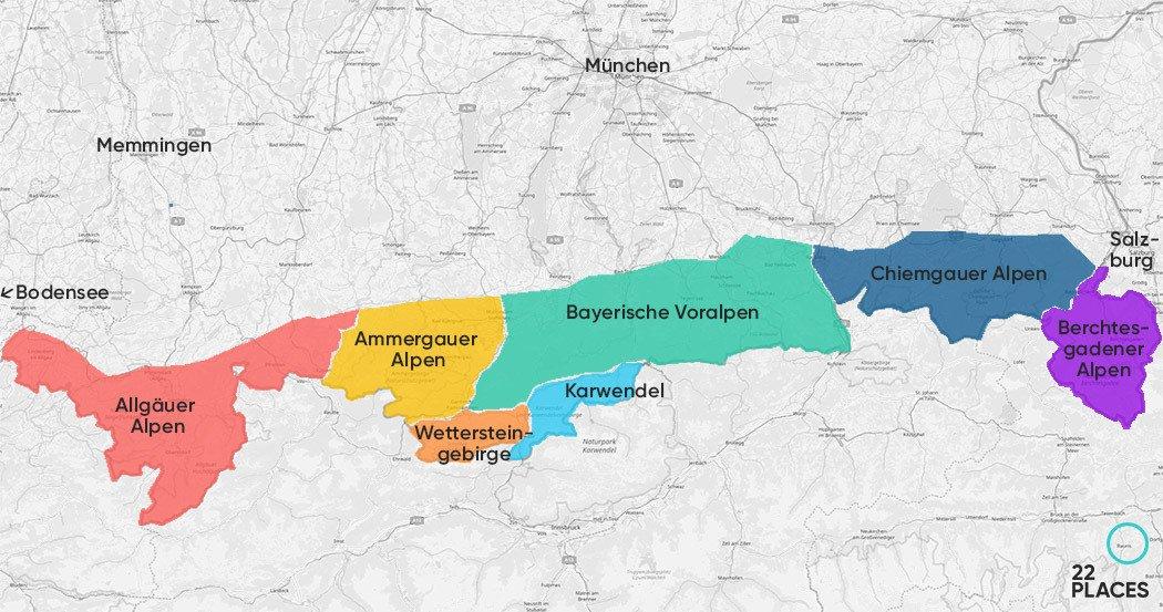 Karte der geographischen Regionen in den Bayerischen Alpen