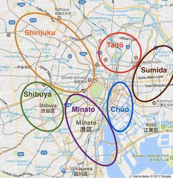 Tokios Sehesnwürdigkeiten sortiert nach Stadtteilen auf einer Karte