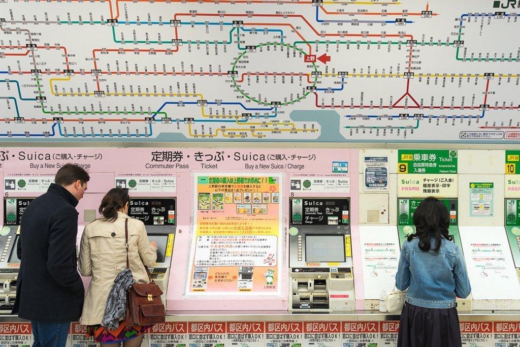 U-Bahn Karte und Automaten in Tokio