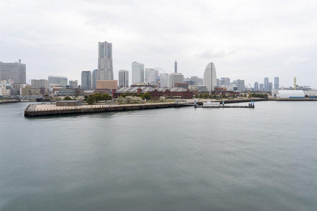 Aussicht auf Yokohama vom International Passenger Terminal - Osanbashi