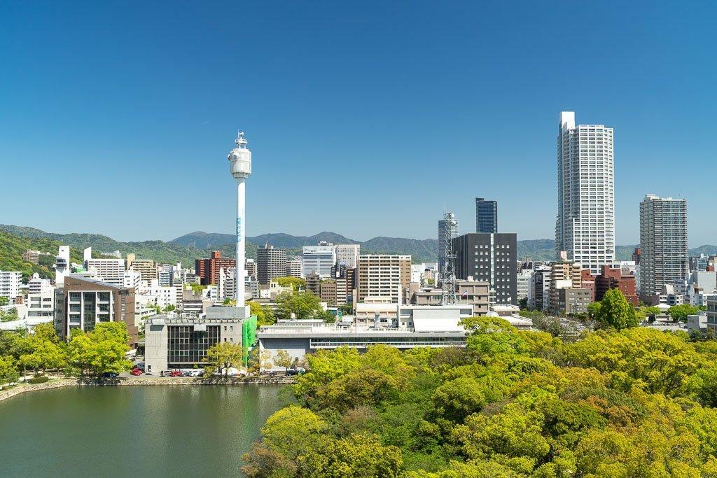 Aussicht vom Hiroshima Castle auf die Stadt
