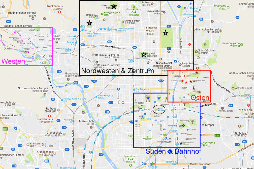 Kyoto Karte - Tempel Guide