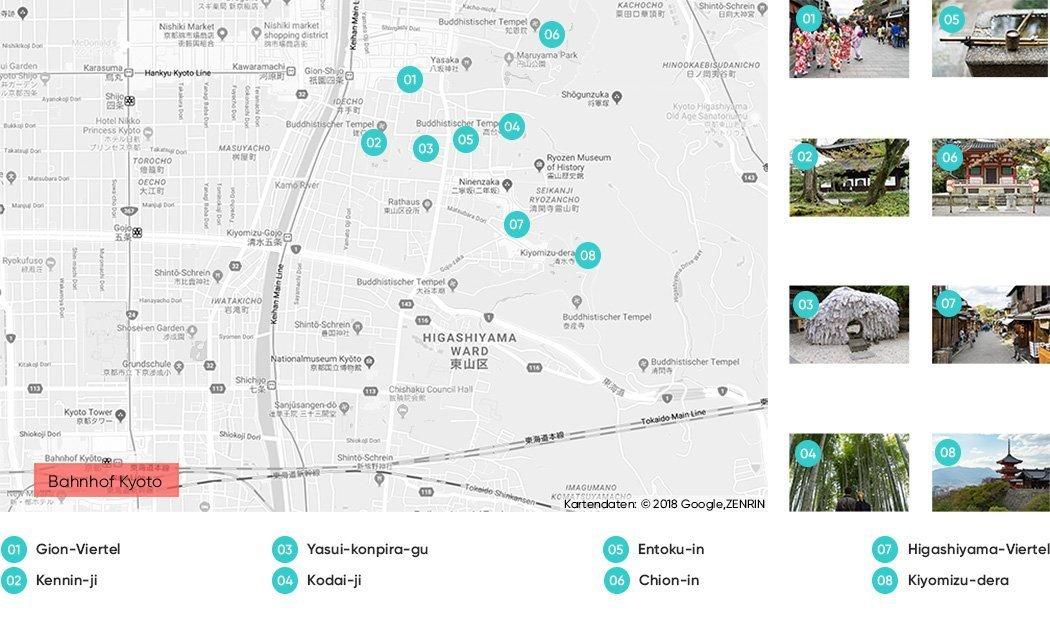 Sehenswürdigkeiten im Osten von Kyoto auf einer Karte