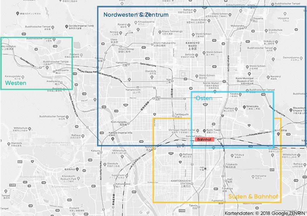 Kyoto Sehenswürdigkeiten auf einer Karte
