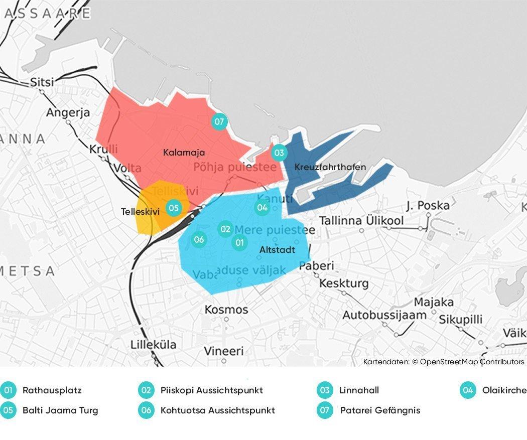 Tallinn Sehenswürdigkeiten auf einer Karte
