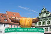 Bratwurst-Stand auf dem Marktplatz