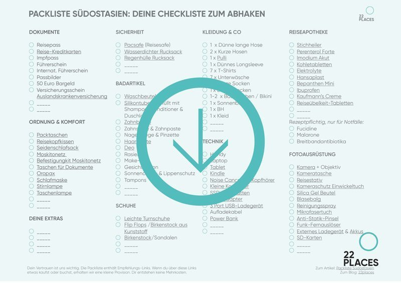 Packliste Südostasien Checkliste PDF zum Download