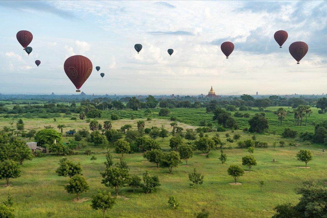 Mit einem Ballon über Bagan!
