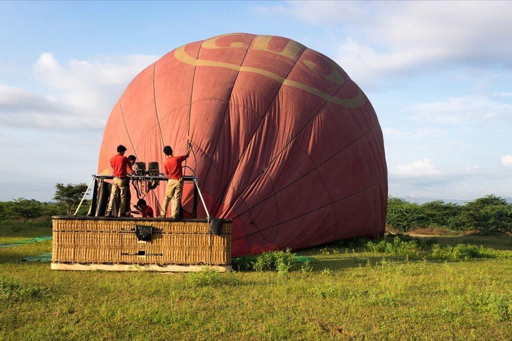 Landung mit dem Ballon