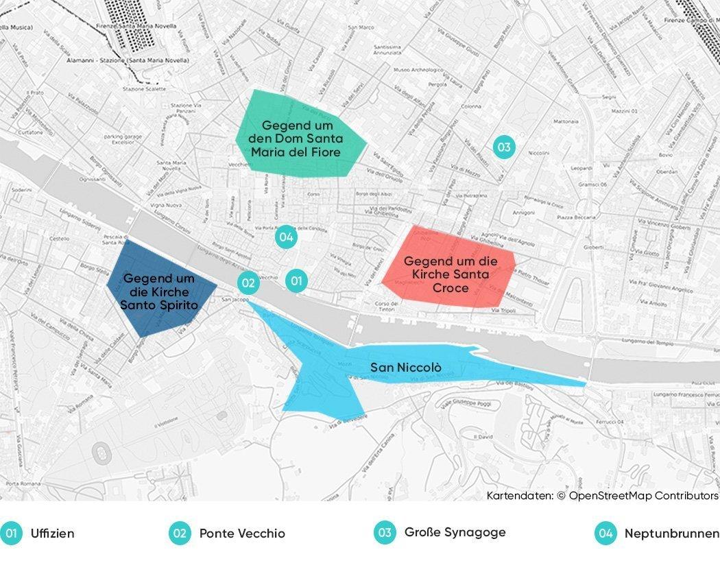 Bezirke in Florenz, die wir dir zum Übernachten empfehlen.
