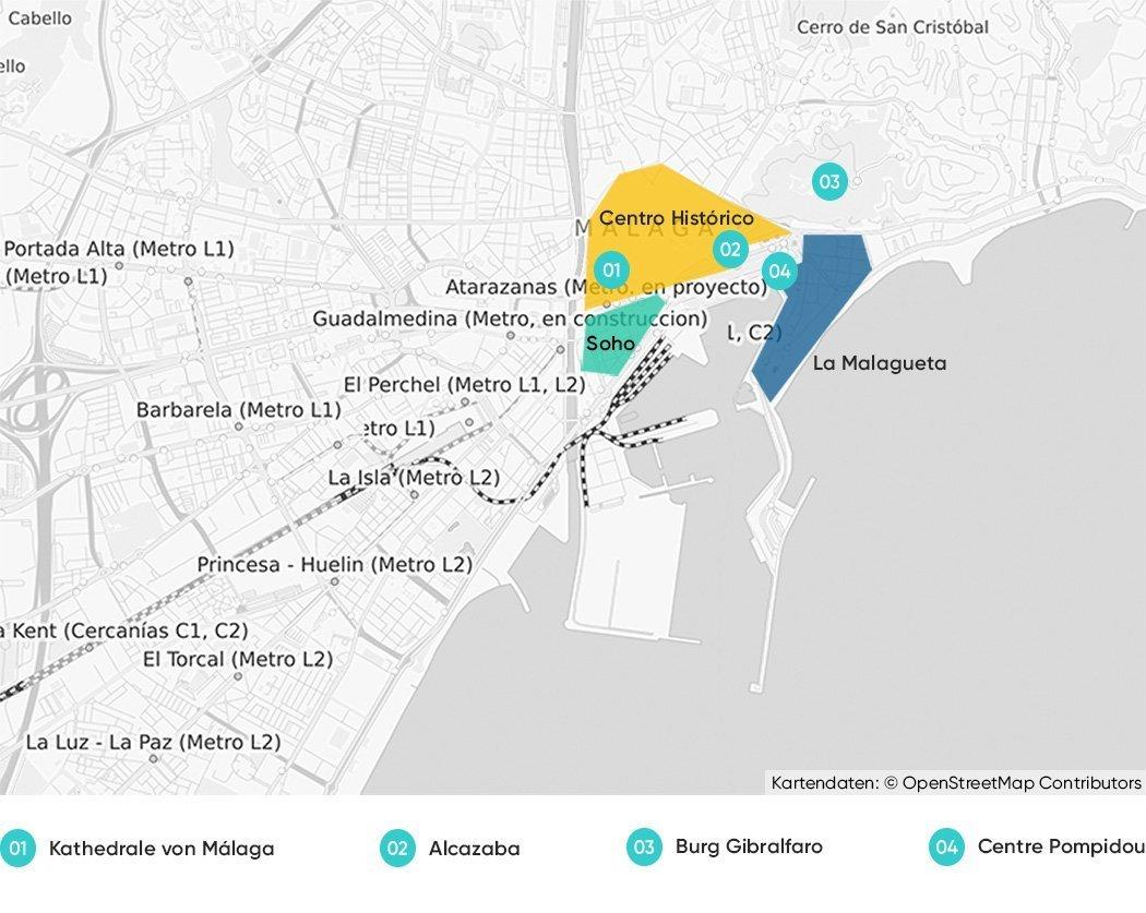 Bezirke in Málaga, die wir dir zum Übernachten empfehlen.