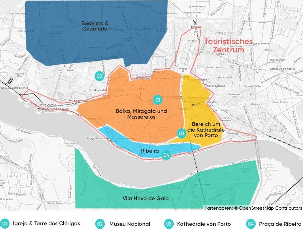 Unsere Karte mit den Bezirken in Porto, die wir zum Übernachten empfehlen.