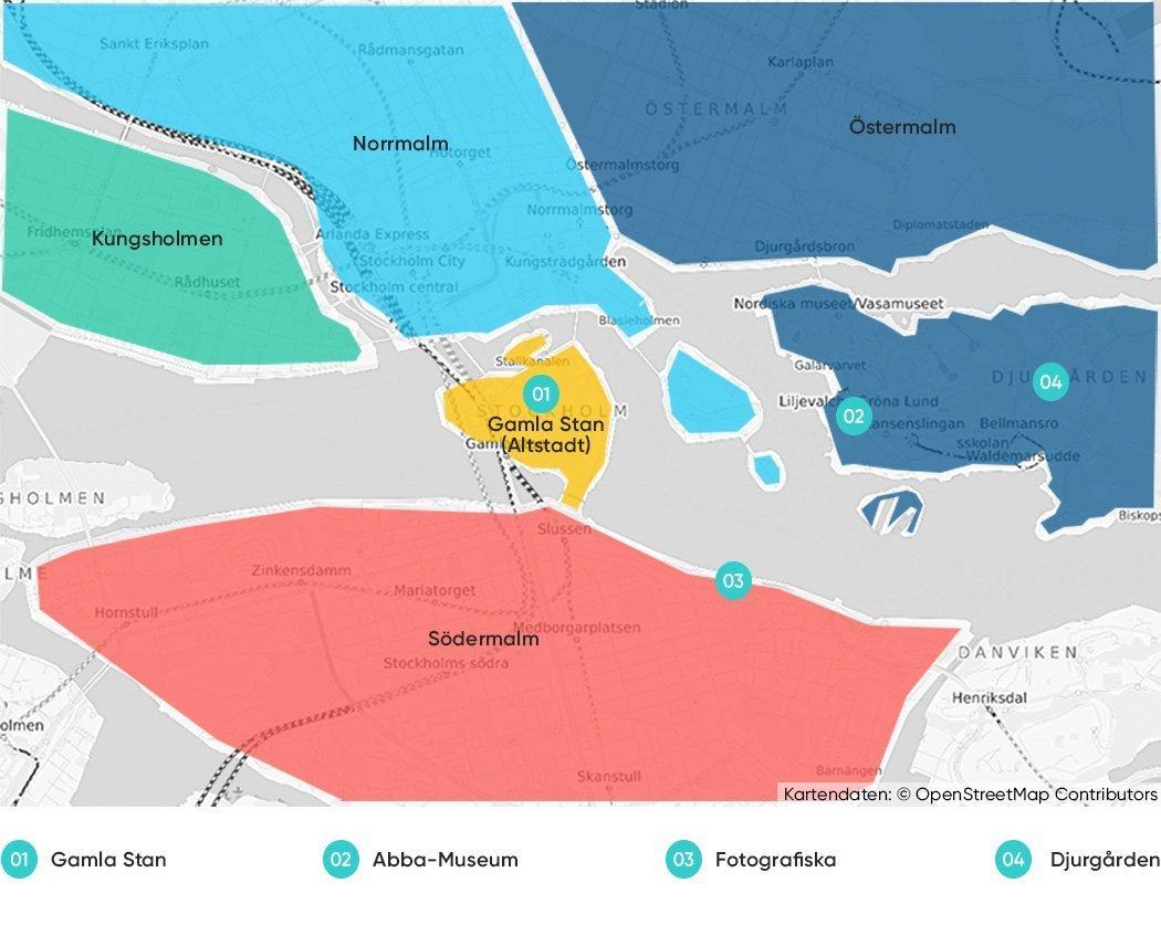 Bezirke in Stockholm, die wir dir zum Übernachten empfehlen.