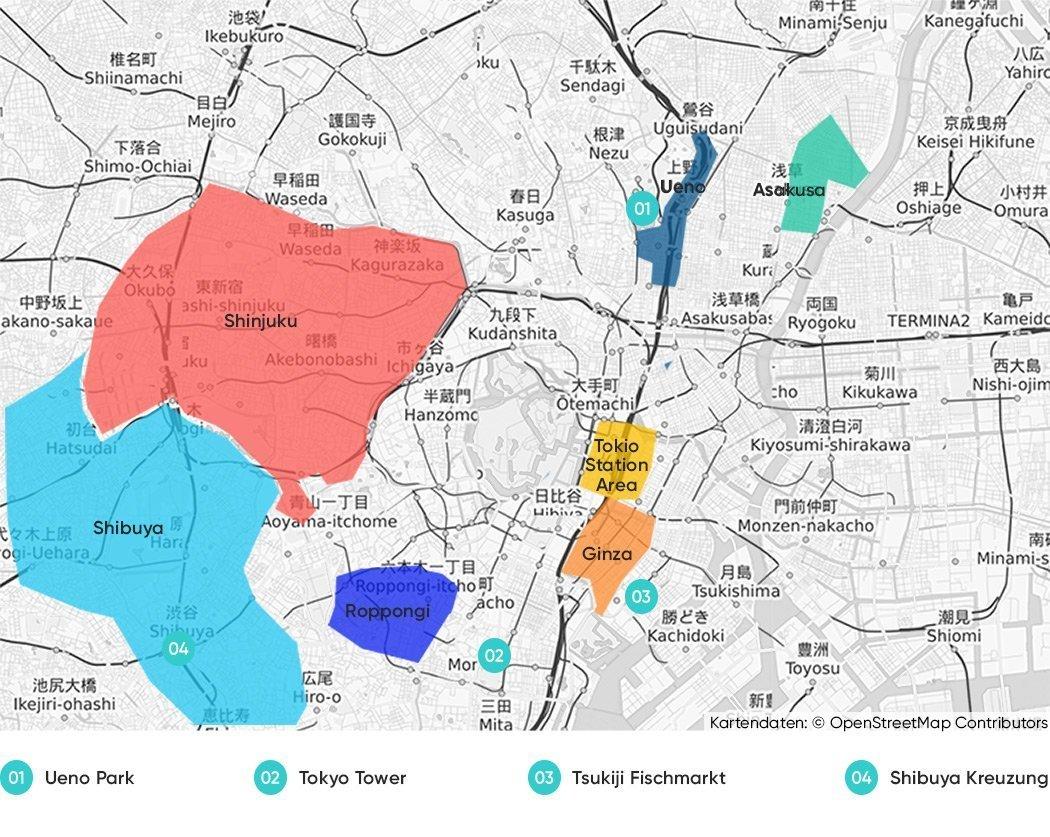 Bezirke in Tokio, die wir dir zum Übernachten empfehlen.