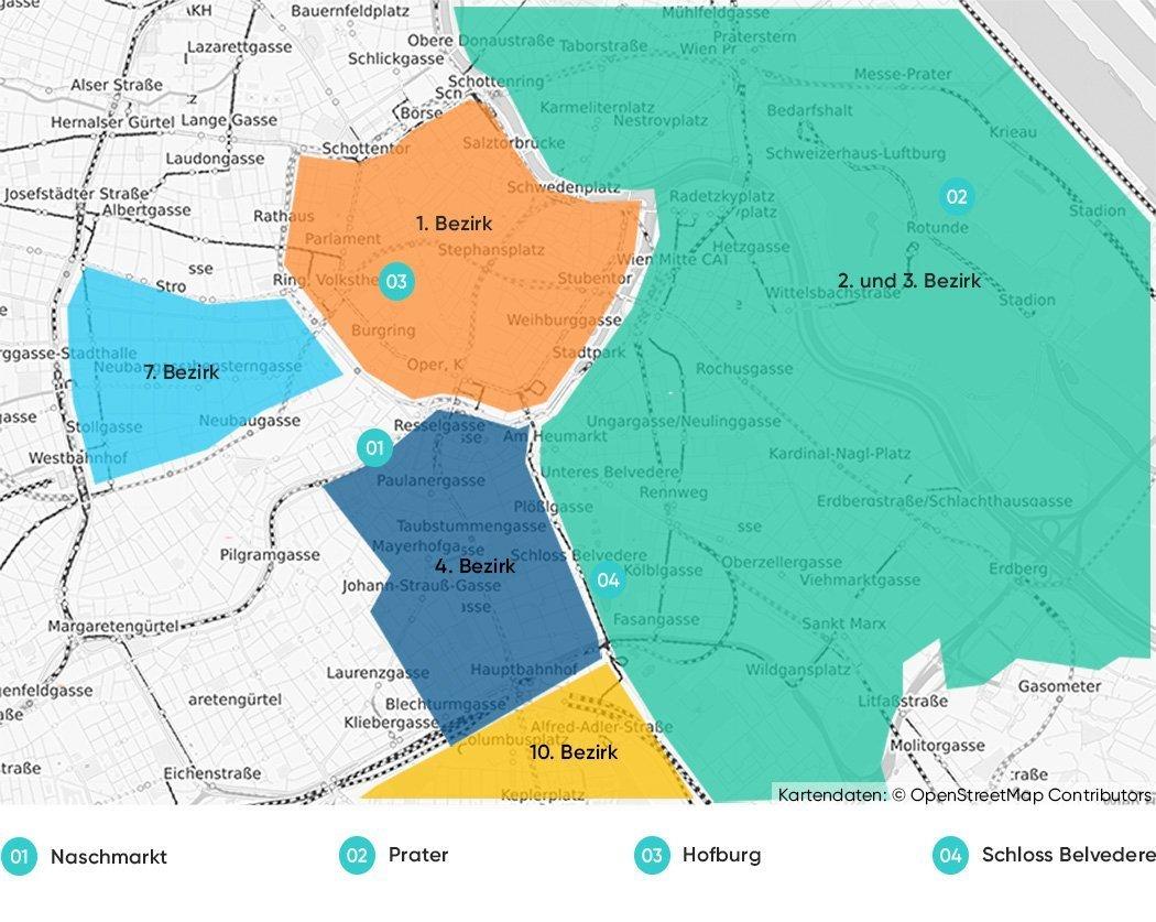Die besten Bezirke zum Übernachten auf einer Karte