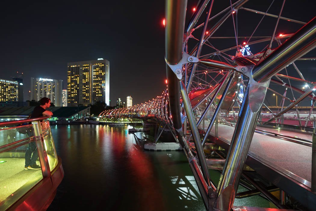 The Helix Bridge in Singapore by night