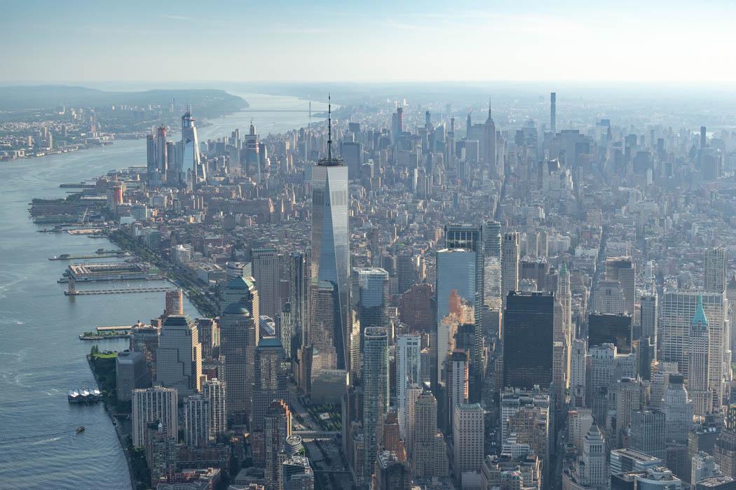 Das One World Trade Center, fotografiert während des Heliflugs