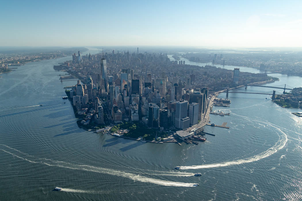 Die Skyline New Yorks fotografiert aus einem Helikopter