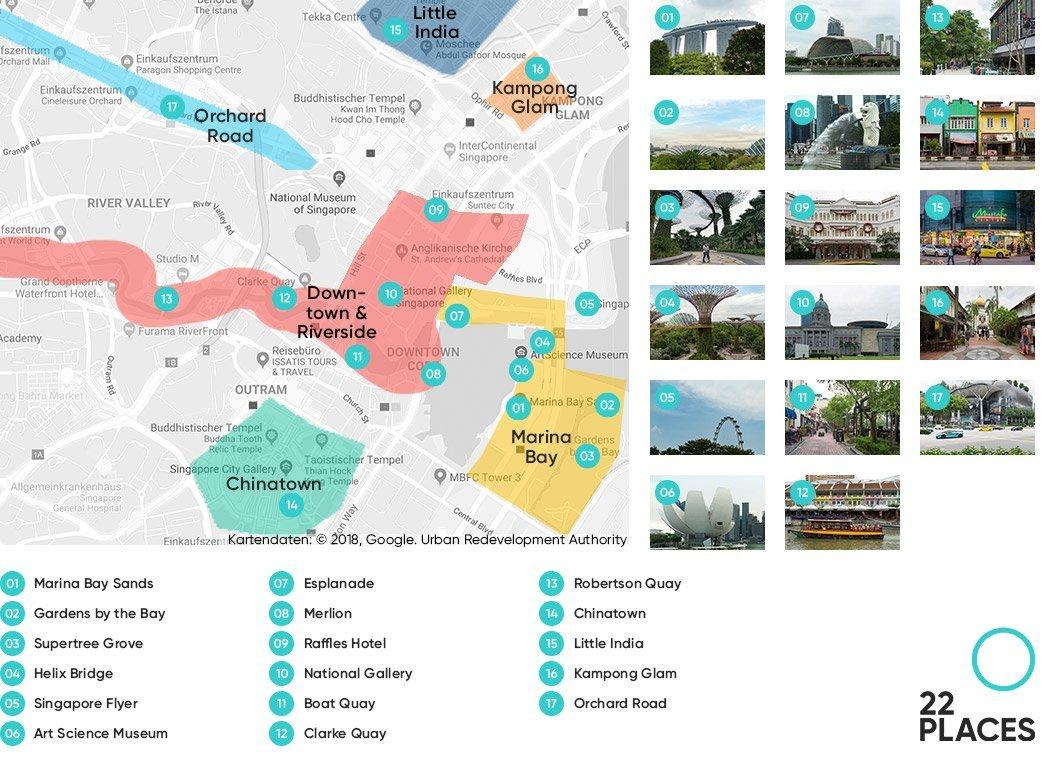 Die wichtigsten Sehenswürdigkeiten in Singapur auf einer Karte
