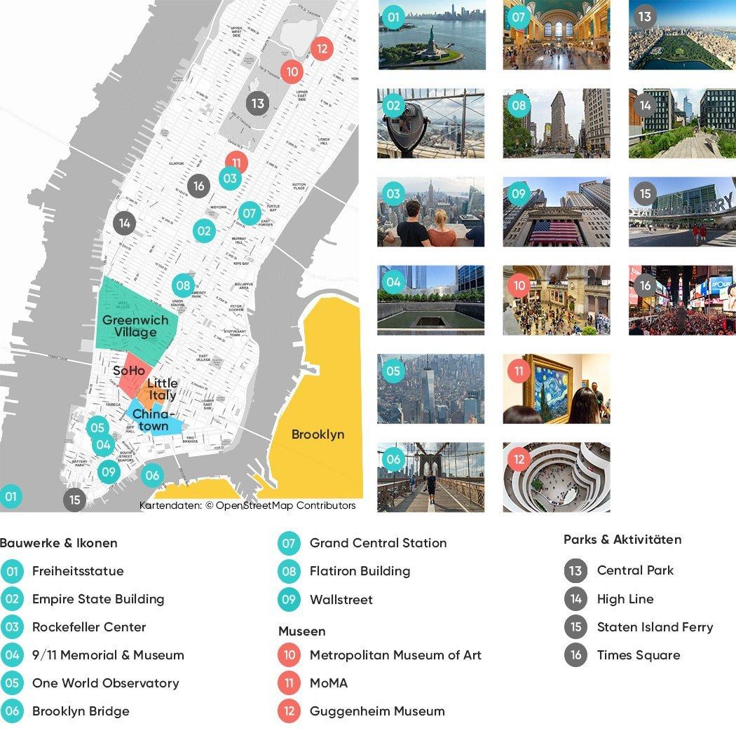 Die wichtigsten New York Sehenswürdigkeiten auf einer Karte