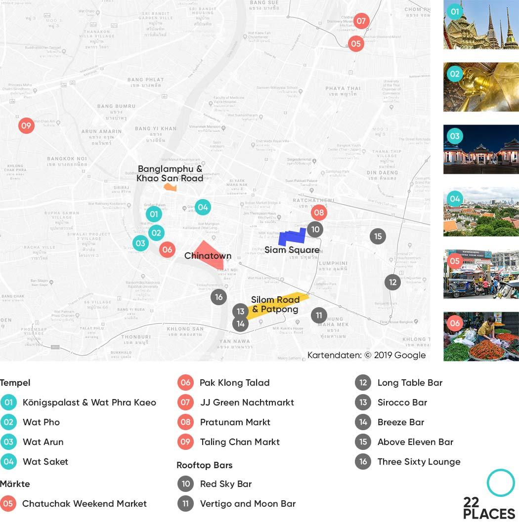 Bangkok Sehenswürdigkeiten Karte