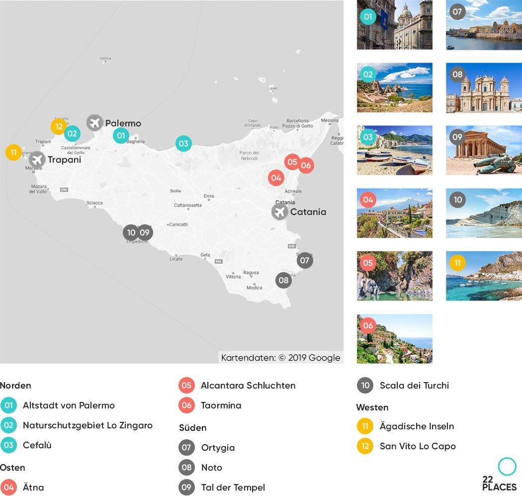 Sizilien Sehenswürdigkeiten Karte