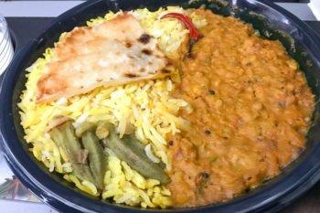 Indisches Curry mit Reis in der Condor Premium Economy