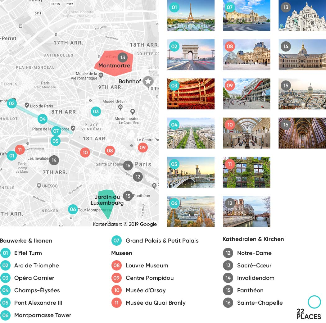 Paris Sehenswürdikeiten Karte