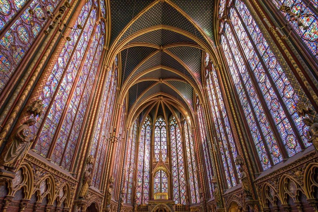 View of the inside of Sainte-Chapelle Paris
