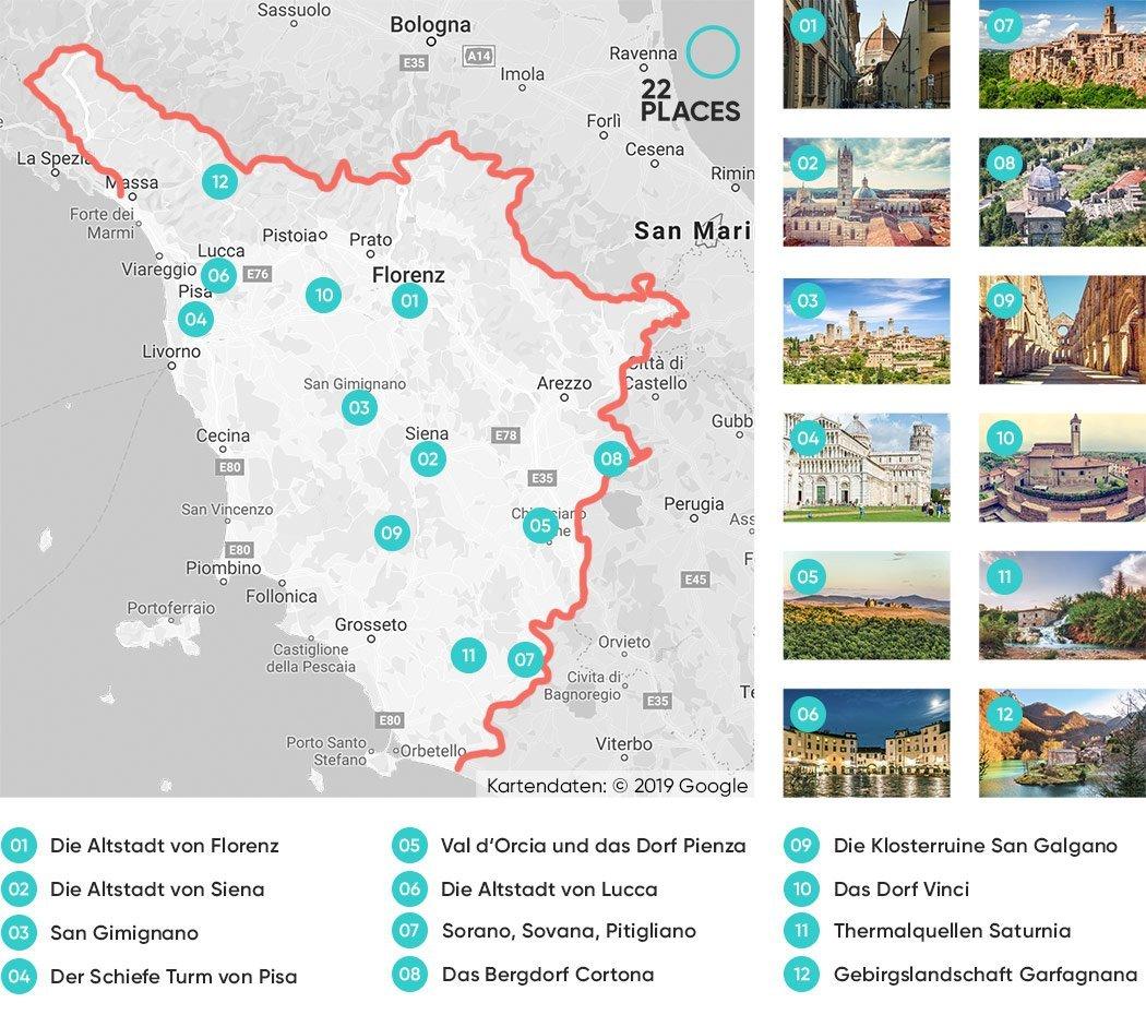 Die schönsten Toskana Sehenswürdigkeiten auf einer Karte