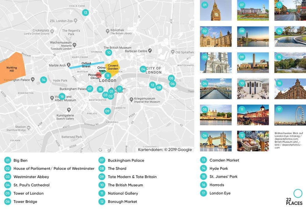 London Sehenswürdigkeiten auf einer Karte