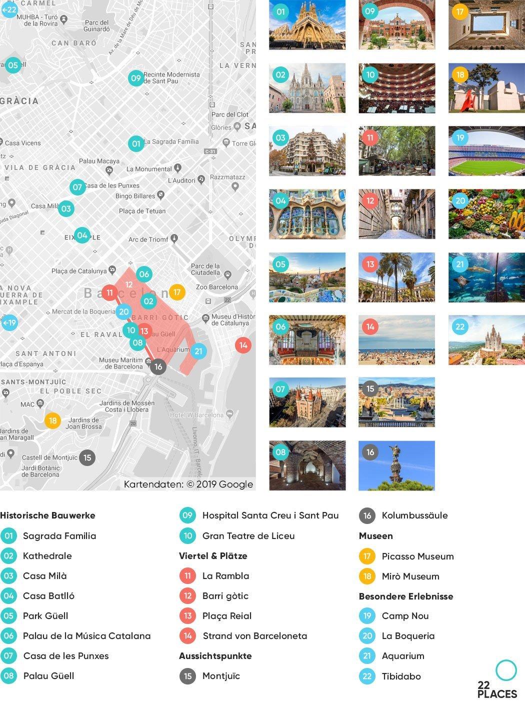 Barcelona Sehenswürdigkeiten Karte