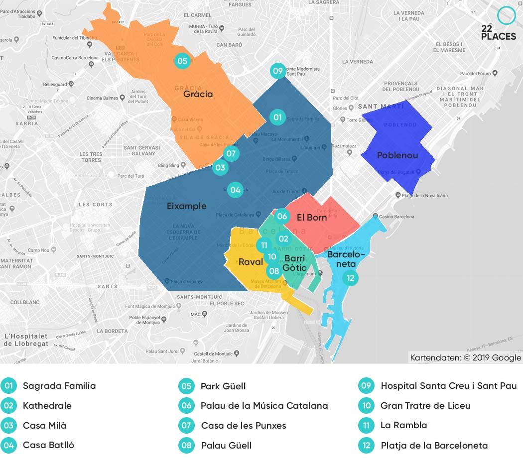 Barcelona Hoteltipps Karte