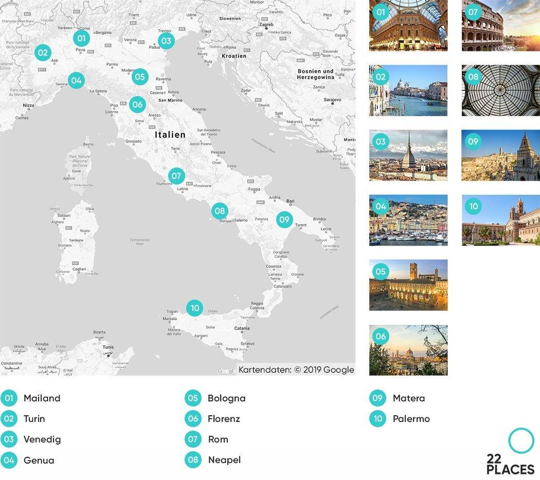 Italien Städtereise Karte
