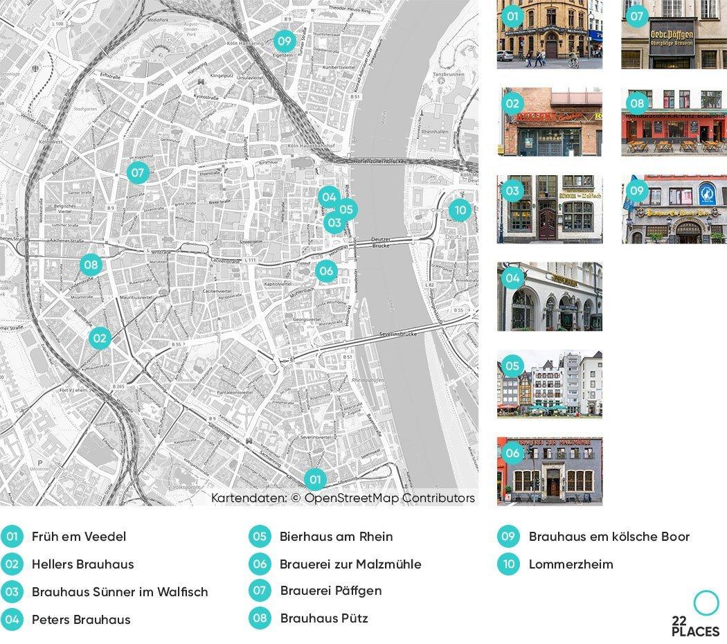 10 besten Brauhäuser in Köln auf einer Karte