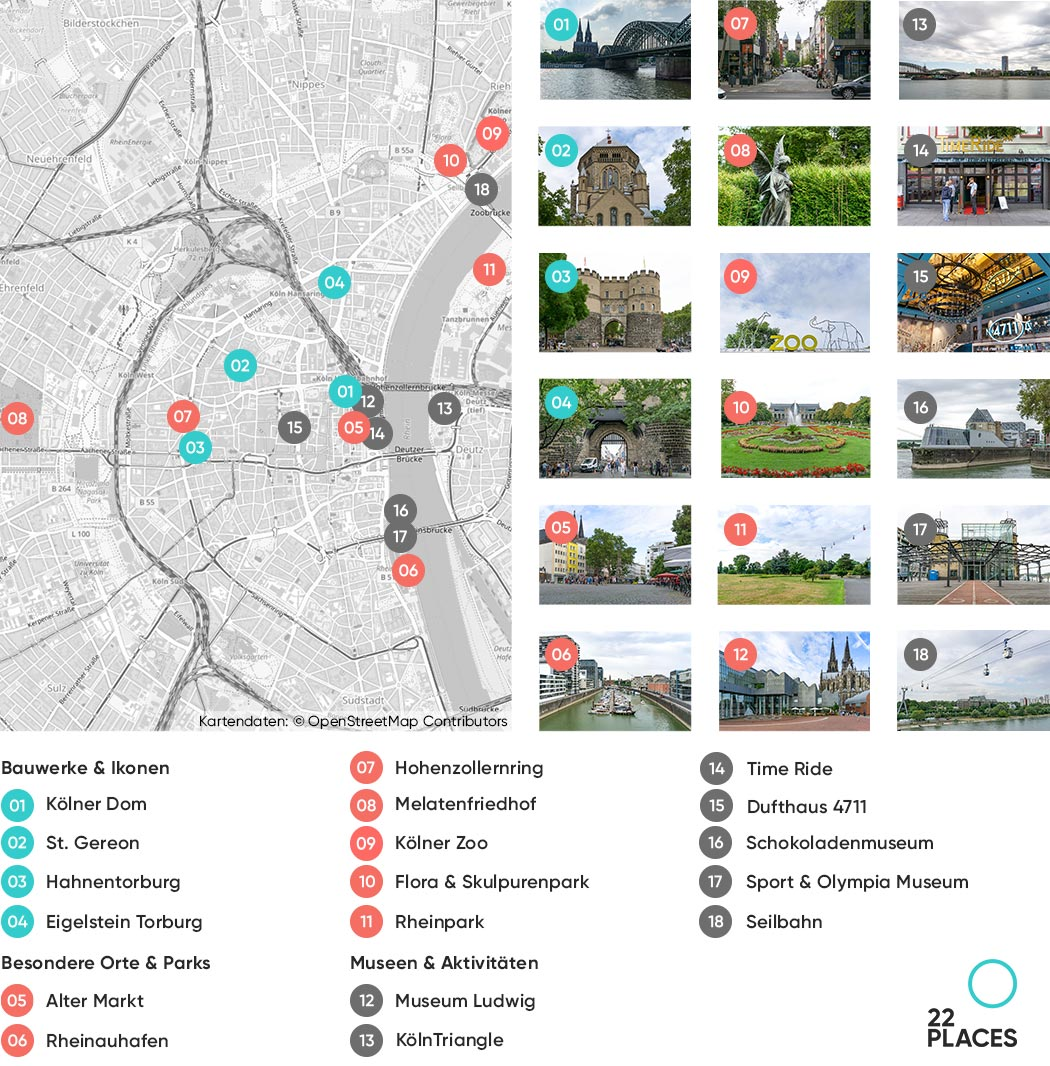 Köln Sehenswürdigkeiten Karte
