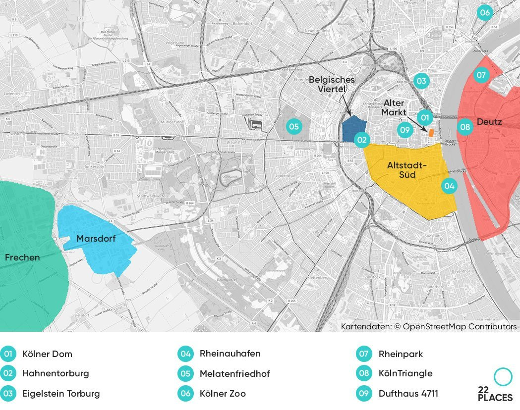 Köln Hoteltipps Karte