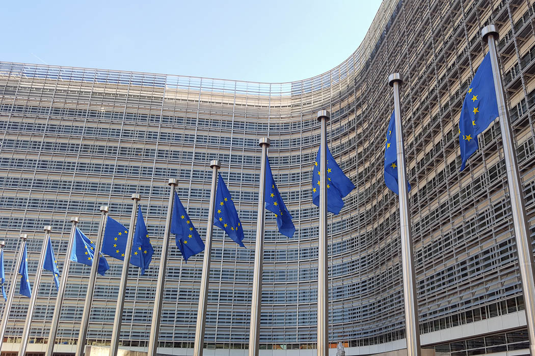 Europaflaggen vor Gebäude