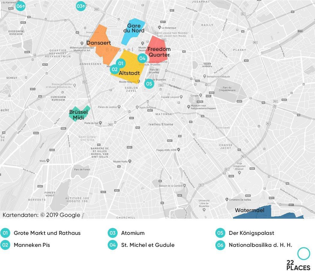 Brüssel Hoteltipps Karte
