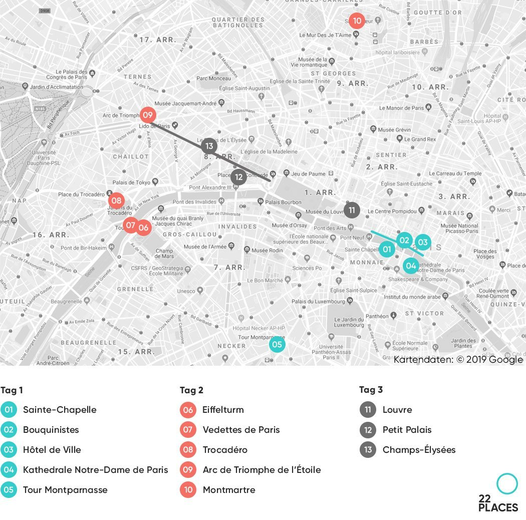 Paris Wochenende Karte