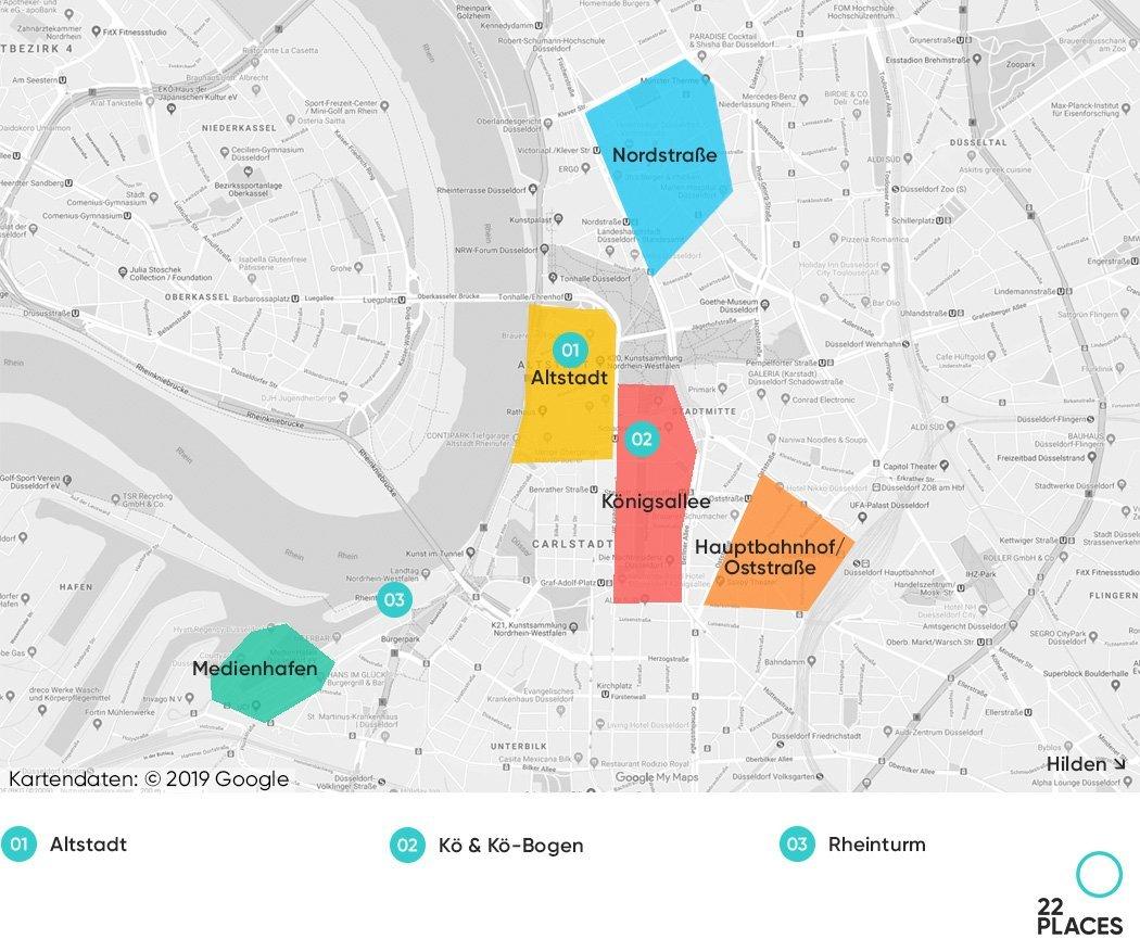 Düsseldorf Hoteltipps Karte