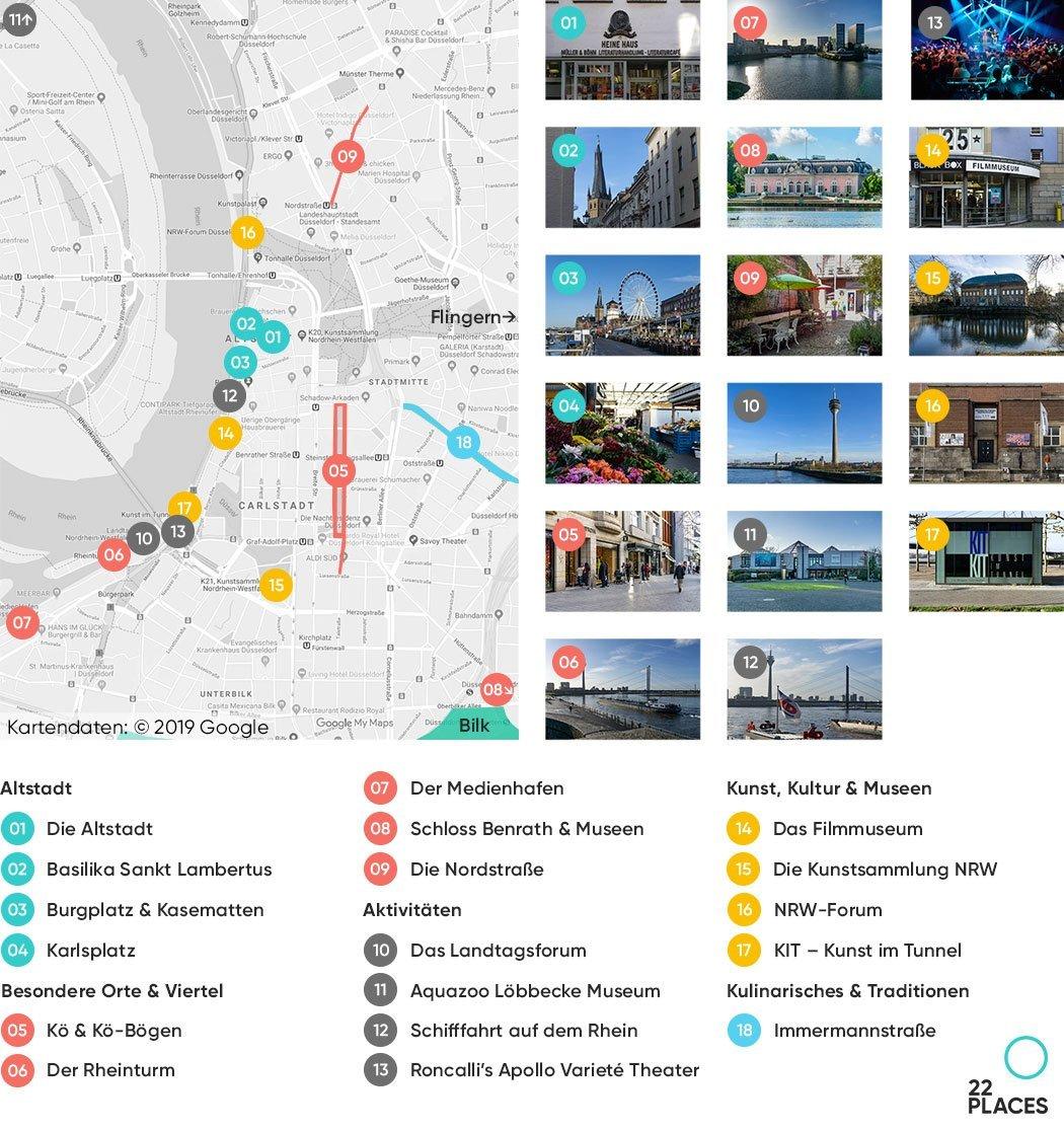 Düsseldorf Sehenswürdigkeiten Karte