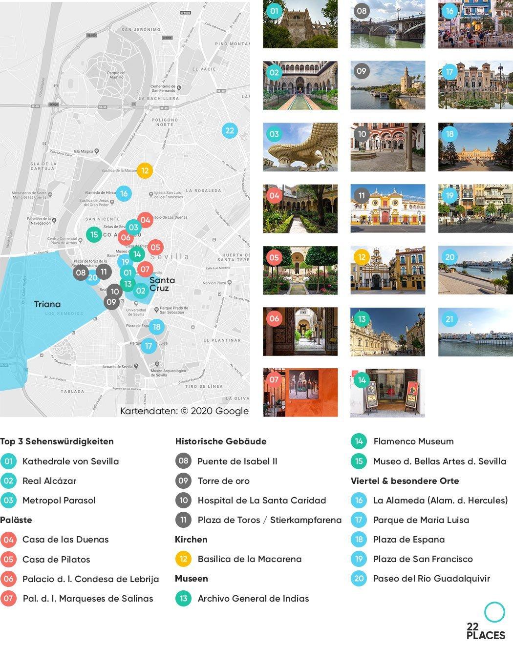 Sevilla Sehenswürdigkeiten Karte