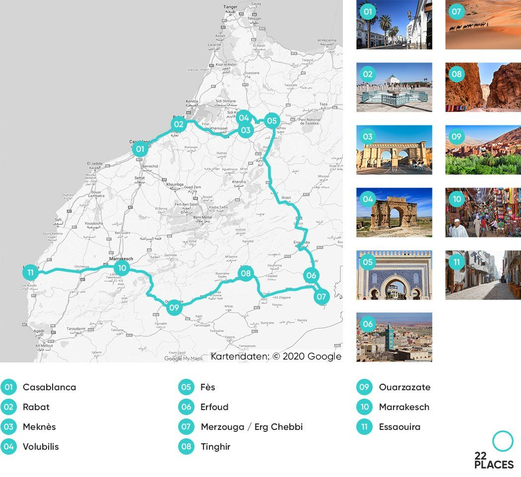 Marokko Rundreise Route Karte